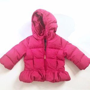 Girls Pink Puffer Ruffle Hooded Jacket 24M